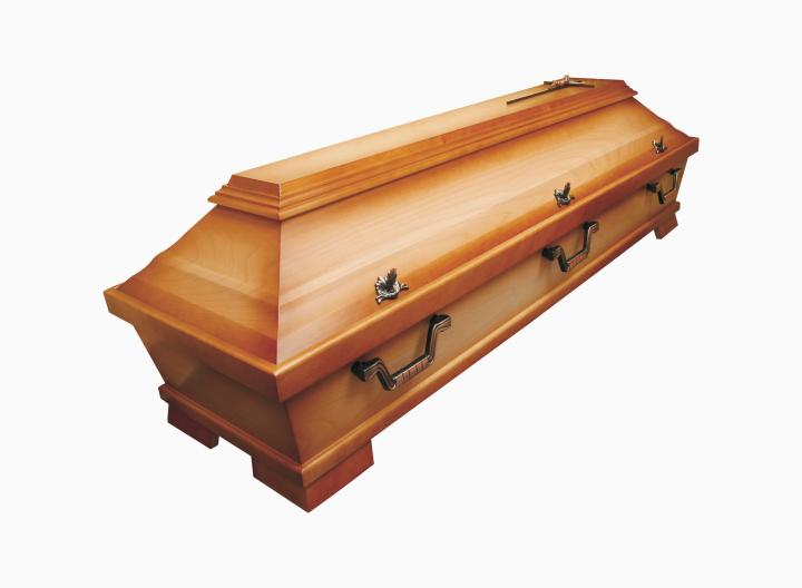 Wooden coffin on white background